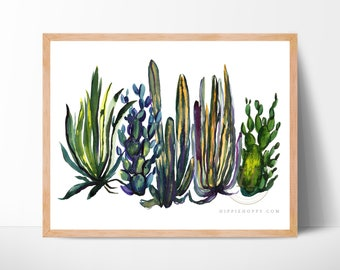 Cactus Watercolor Print by HippieHoppy