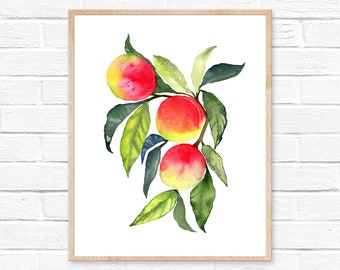 Peach Art, Colorful Kitchen Art, Peach watercolor Kitchen Decor, Watercolor Peach, Fruit Illustration, Fruit Vegetable Painting for Kitchen