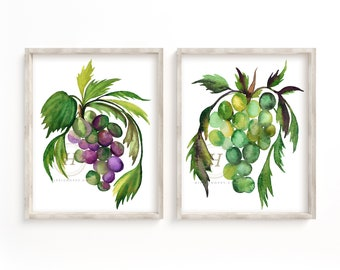 Grapes Print Set of 2, Watercolor Grape Art, Kitchen Wall Art