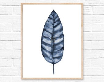Banana leaf print, Blue leaf art, Tropical leaf prints