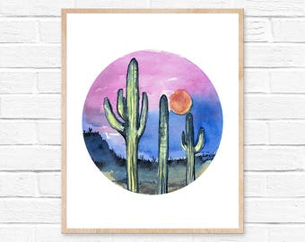 Cactus Watercolor Print Cactus Painting Cacti Cactus Watercolor Art Home Decor Painting Southwestern Painting Greenery Cacti Art Boho Decor