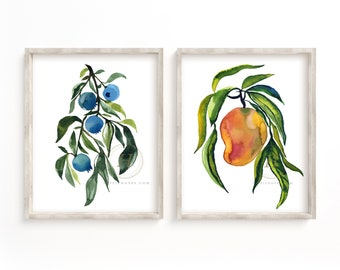 Blueberry and Mango Art Prints set of 2 by HippieHoppy