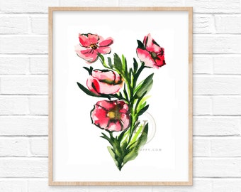 Pink Flower Watercolor Print