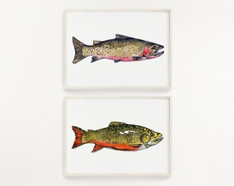 Brook and Cutthroat Trouts Watercolor Print Set of 2 Fishing Wall Art