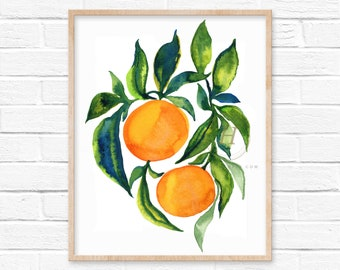 Large Oranges Citrus Watercolor Print