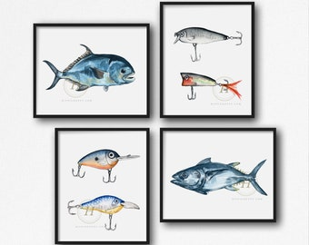 Large Fishing Wall Art set of 4 by HippieHoppy