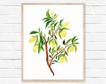 lemon tree lemon watercolor lemons yellow watercolor painting lemon print painting art lemon watercolor kitchen decor lemon art art print