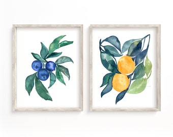 Blueberry Orange Watercolor Print set of 2