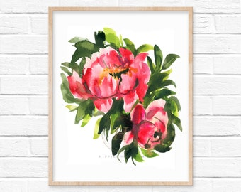 Flower Watercolor Print by HippieHoppy