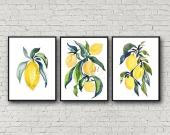 Large Fruit Prints, Watercolor Art by HippieHoppy