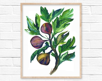 Fig Tree Watercolor Print by hippiehoppy