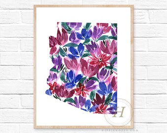 Arizona Map Print, Phoenix Print, Arizona Art, Watercolor Painting, Map Art, Wall Decor, Travel Poster, Home Decor, Mothers Day Gift
