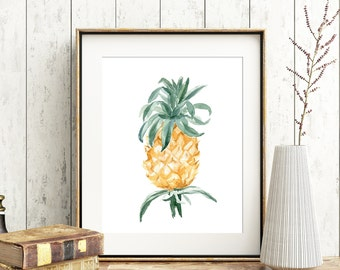 Pineapple Watercolor No.101 Pineapple Watercolor Print Vintage Inspired Tropical Fruit Art Pineapple Wall Art Pineapple Wall Decor Art Fruit