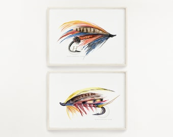 Fly Fishing Prints Set of 2, Watercolor Fly Art, Wall Art