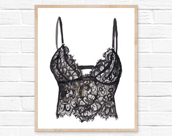 Bra Bathroom Wall Decor / Bedroom Art Print /Lingerie Prints/Lingerie Shower Gift/Vanity Wall Art /Chic Wall Art Print/House Warming Gift