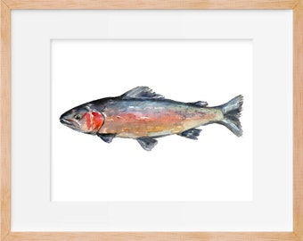 Rainbow trout print, Watercolor fish, Wall art