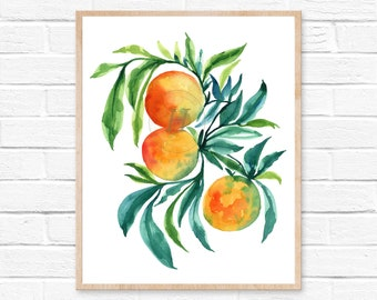 Orange watercolor print, Orange painting, Kitchen art