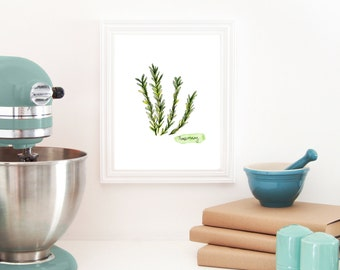 Herb Print, Rosemary, Watercolor Print, Kitchen Art, Rosemary Decor, Herb Wall Art, Apartment Decor, Rosemary Painting, Herb Painting