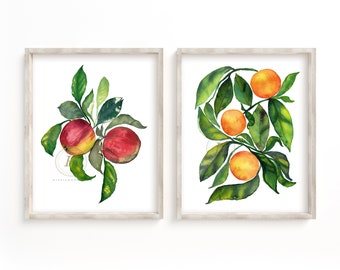Apples and Oranges Print Set of 2, Watercolor Fruit, Kitchen Art