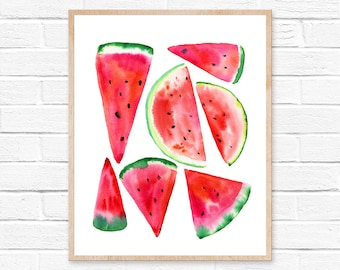 watermelon watercolor watercolor painting watermelon painting watermelon print fruit watermelon art watercolor print print wall art summer