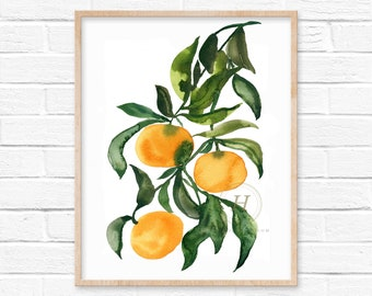 Orange Citrus Watercolor Art Print