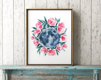 Moon Astrology Print Moon Phases Watercolor Painting Blue Moon Flowers Art Moon Art Abstract Solar System Illustration Moon Florals Artwork