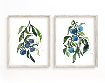 Blueberry Watercolor Print Set of 2 Fruit Kitchen Art