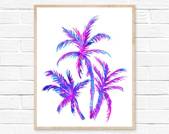 Watercolor Palm, Beach Wall Art, Palm Tree Art, Palm Tree Print, Painting, Beach Art, Coastal Decor, Beach House Artwork, Tropical Art, Palm
