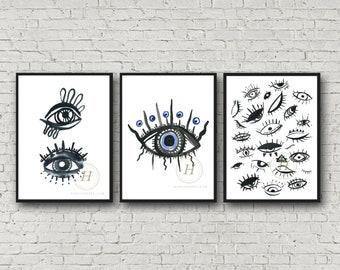 Evil Eye Print set of 3 by HippieHoppy