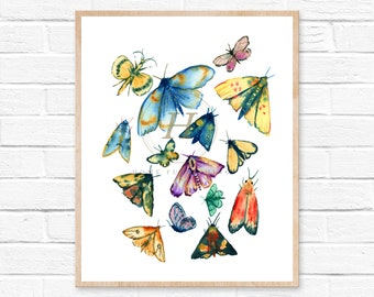 Moth watercolor painting, Bug art, Colorful print, Whimsical art