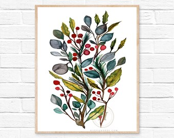 Christmas Leaves Watercolor Print