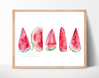 Pink Watercolor Watermelon Wall Art Print Decor Modern Nursery
