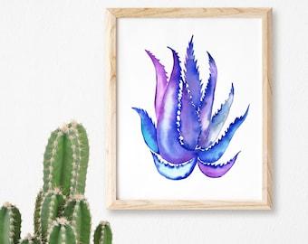 Cactus Print,Succulent Print,Cacti Print,Cactus Wall Decor,Botanical Print,Cactus Art,Coastal,Wall Art,Poster,Agave Print,Cactus Watercolor
