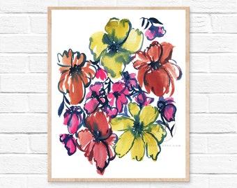 Flowers, Watercolor Print, Folk Art by HippieHoppy