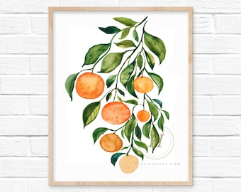 Large Orange Watercolor Print by HippieHoppy