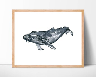Humpback Whale 105 Print Humpback Whale Art Humpback Whale Art Whale Watercolor Whale Wall Art Whale Decor Whale Illustration Home Decor Art