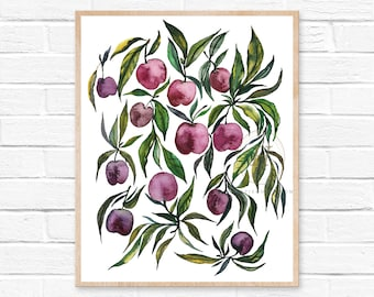 Large Cherry Watercolor Print Fruit Art Modern Art