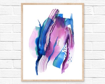 Watercolor Wall Art Print, Abstract Painting, Modern Minimalist, Blue Decor, Blue, Purple, Ink, Brush Stroke