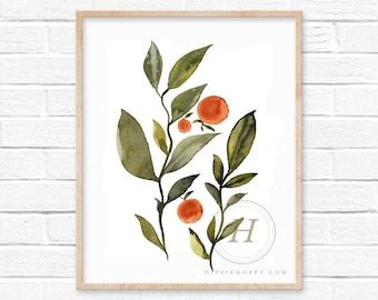 Orange Watercolor Art Print by HippieHoppy