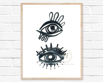 Evil Eye Art Print. Tribal Gypsy Girl Art Print. Boho decor. Watercolor Evil Eye Art Print. Modern Bohemian Wall Art. Wanderlust Art.