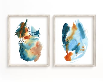 Large Abstract Watercolor Prints Set of 2