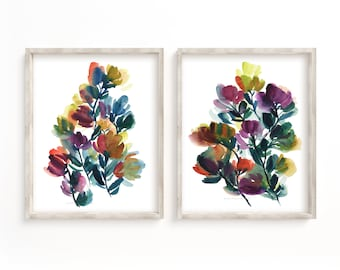 Flower Set of 2 Watercolor Paints, Abstract flowers