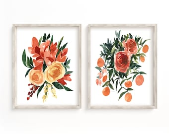 Fall Flower Watercolor Print set of 2