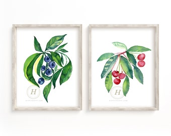Blueberry and Cherry Print Set, Watercolor Wall Art