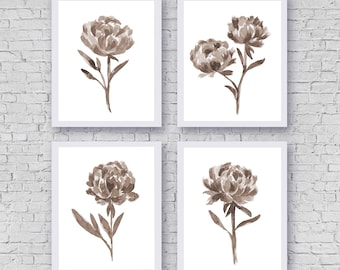Peony Set 3 Flowers Prints, Floral Watercolor Peony Painting, Watercolor Home Decor, Abstract Illustration Home Garden Art Print Minimalist