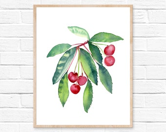 cherry watercolor cherry watercolor kitchen decor watercolor painting cherries kitchen art kitchen wall art watercolor print cherry painting