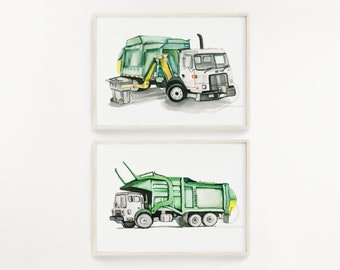 Trash Truck Watercolor Print Set of 2 Side Loader and Front Loader