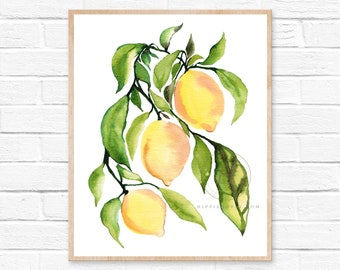 Lemon Branch Watercolor Print