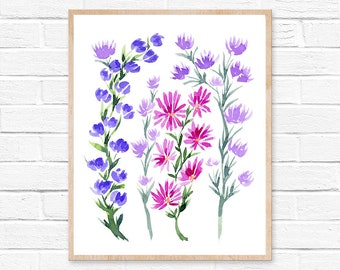 wildflowers watercolor wildflower watercolor painting wall art wildflower art watercolor flowers home decor watercolor print floral art