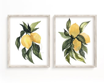 Large Lemons Watercolor Prints Set of 2 by HippieHoppy